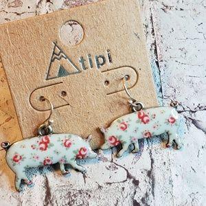Jewelry - Floral pig shape farm animal earrings